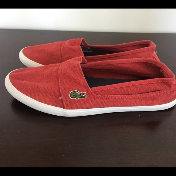 a8eecb302ac7e2 Lacoste Shoes - Red Lacoste slip on shoes, women size 9.