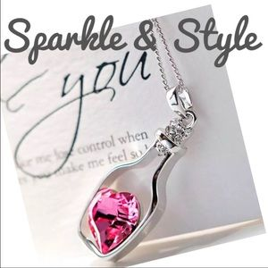 💖Pink heart in bottle necklace