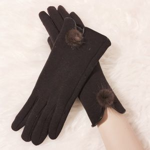Accessories - Chocolate Brown Fur Accent Touch Screen Gloves