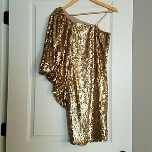 Aidan Mattox Gold Sequin One Shoulder Dress size 6