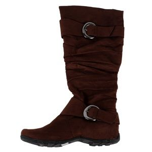 Shoes - Suede buckle knee high boot(Valley-11 Brown suede)