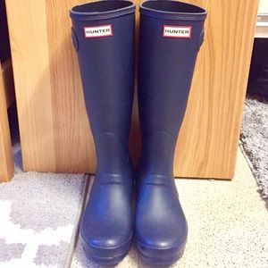 Navy Hunter Original Tall Rain Boots.