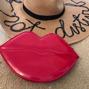 Red Lips Faux Leather Clutch