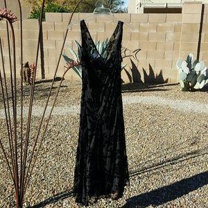 Robbie Bee Dresses & Skirts - Amazing Black Flocked Velvet on Sheer Dress NWOT