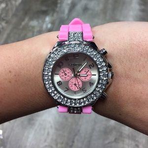 geneva Accessories - Geneva pink rhinestone watch silicone bling new