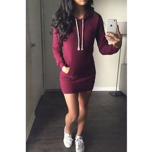 Burgundy Hoodie Dress