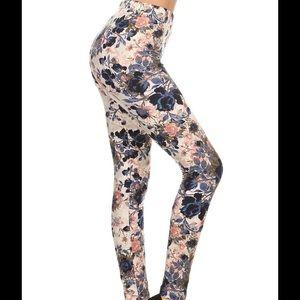 Soft Brushed Knit Blue Floral Leggings