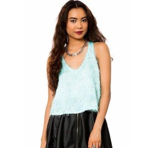Lily White Tops - XS, M {Lily White} Baby Blue Fuzzy Crop Top