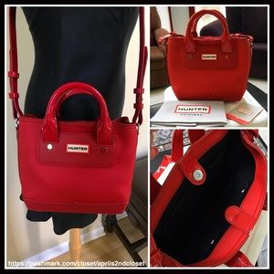 7cab92f6cd Hunter Bags - HUNTER ORIGINAL RED RUBBER MINI CROSSBODY TOTE BAG