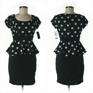 Iz Byer Dresses & Skirts - NWT Polka Dot Peplum Black Pencil Skirt Dress