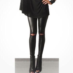 Pants - On sale! • Faux Leather Slit Knee Leggings