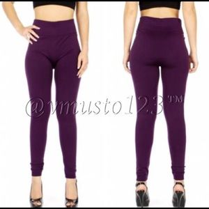 FLEECE SOLID LEGGINGS IN DEEP PURPLE