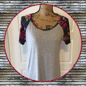 Boutique Tops - Gray and Floral T-Shirt, NWOT