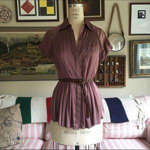 BCBG Mauve Silk Button Up Blouse