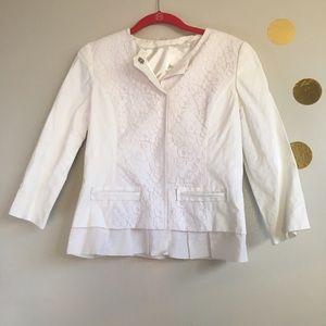 T Tahari Jackets & Blazers - T Tahari White Crocheted Lace Jacket