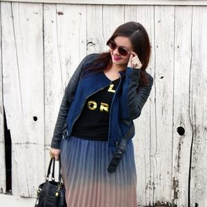 Forever 21 Jackets & Blazers - Denim & Faux Leather Moto Jacket