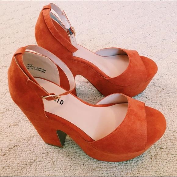 45% off torrid Shoes - NWT suede burnt orange chunky heels from ...