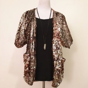 The Limited Gold Sequin Jacket With Pockets
