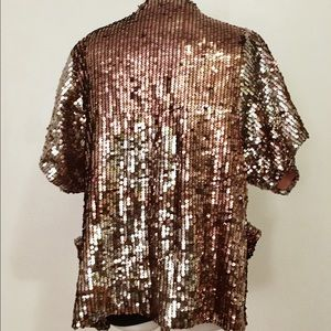 The Limited Jackets & Coats - The Limited Gold Sequin Jacket With Pockets