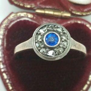 Jewelry - Victorian 9k pink white  diamonds sapphire ring