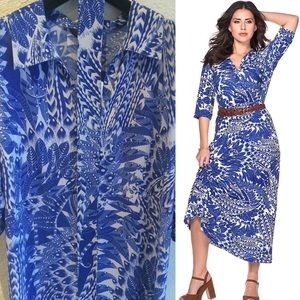 Anna Scholz Dresses & Skirts - Anna Scholz Feather Print Sheego Dress w/ Belt 14