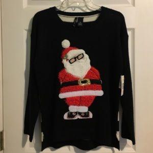 New Directions Petite Hi Lo Santa Sweater