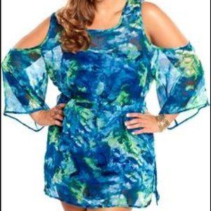 Always For Me Dresses & Skirts - Sheer watercolor mini dress/tunic/swim coverup