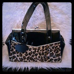 LUX DE VILLE Leopard Kiss Lock Purse Handbag