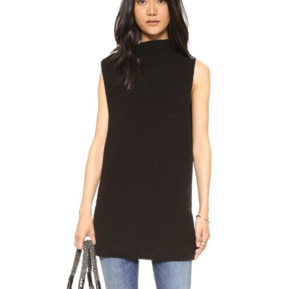 6227b4cebb113 NWT Free People Black sleeveless sweater tunic