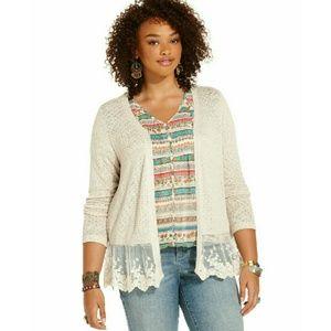 American Rag Sweaters - New! American Rag Plus Size Lace-Hem Cardigan Top