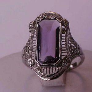 Jewelry - Antique 14k white gold filigree amethyst ring