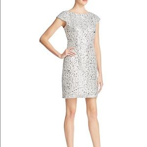 Adrianna Papell Silver Sequin Dress