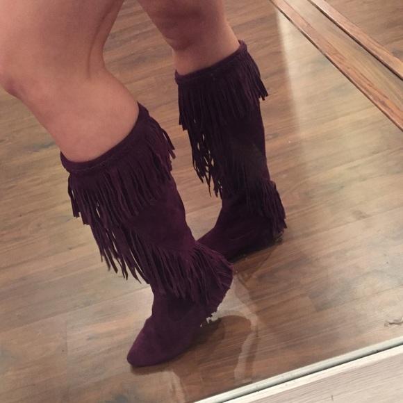 aa105711066aa0 Sam Edelman Purple Suede Moccasin Fringe Boots. M 58533683a88e7ddb9f00f1e2
