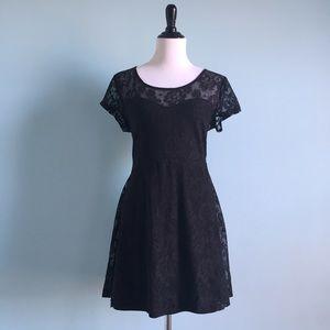 Dresses & Skirts - Black Lace Skater Dress