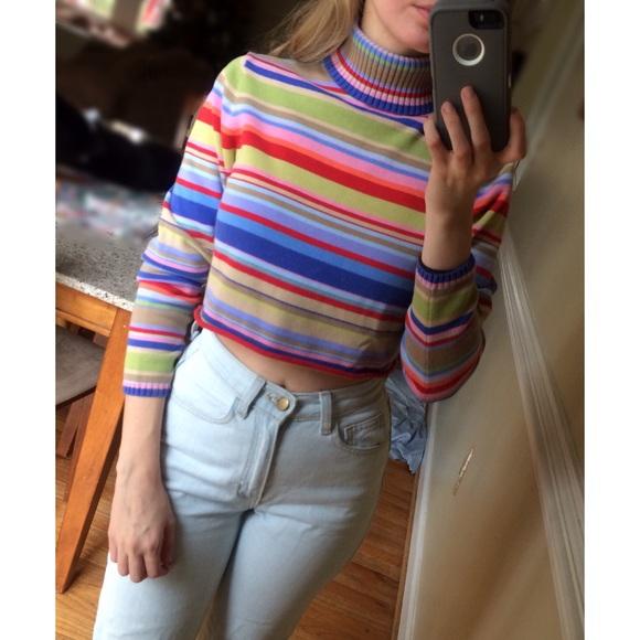 Vintage 90s Striped Turtleneck Crop Sweater