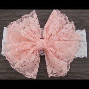 Pink lace girls headband, girls bow headband,