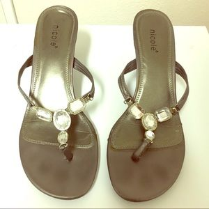 Shoes - Pewter High Heel Sandals