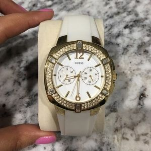 White and gold Guess watch