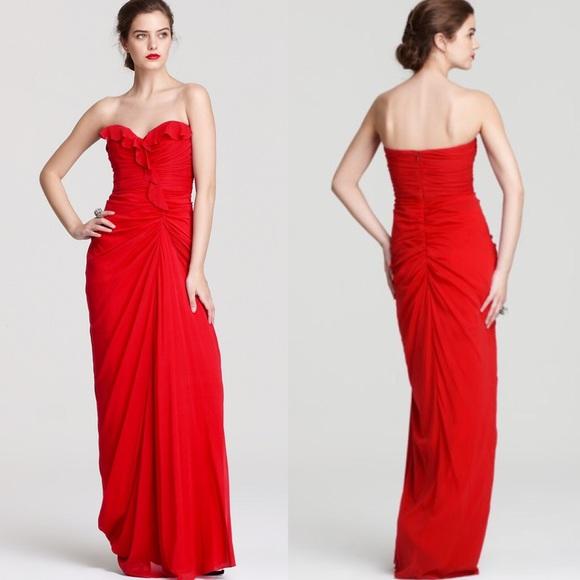 Badgley Mischka Dresses | Sale Red Strapless Ruffle Gown | Poshmark