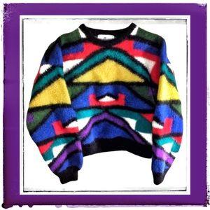 100% Bolivia Alpaca Bright 80s Geometric Sweater