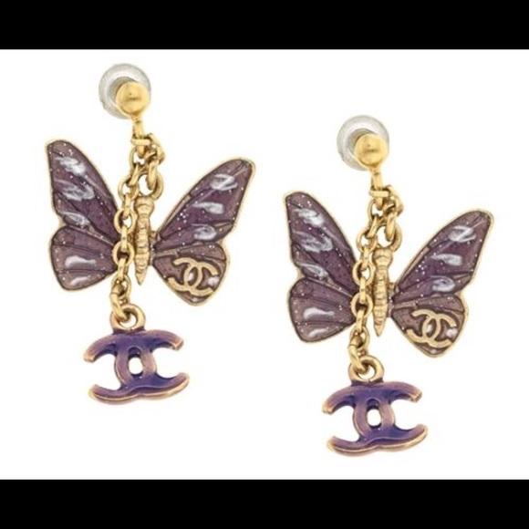 9b685fbbf CHANEL Jewelry | Rare Enamel Cc Gold Butterfly Earrings | Poshmark