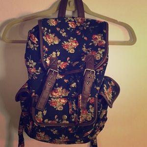 Corduroy Navy Floral Backpack