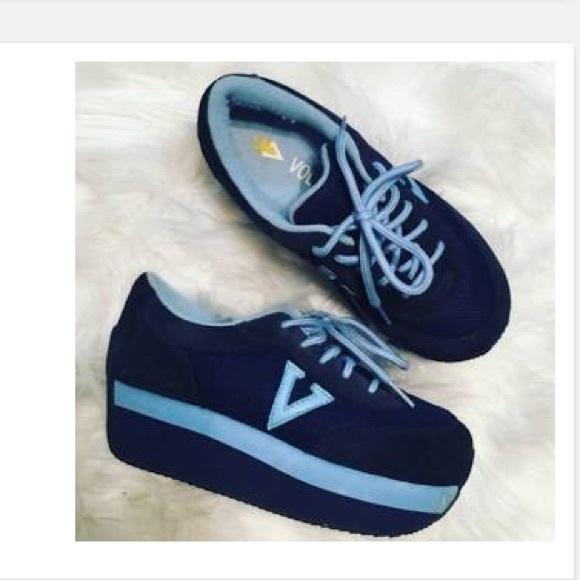 Volatile Expulsion Blue Wedge Sneakers