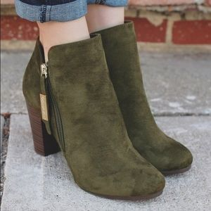 Shoes - Olive faux suede round toe wooden heel bootie
