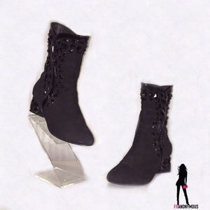 Shoes - Stunning Italian Black Suede Booties 7