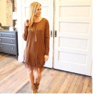 Dresses & Skirts - Long sleeve suede fringe detailed sweater dress