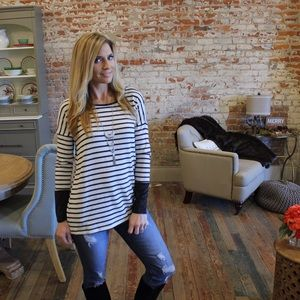 Tops - Black and Ivory striped suede cuff tunic