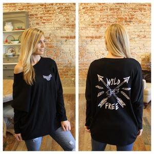 "Sweaters - Black "" Wild and Free"" sweater"