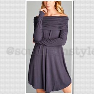 Charcoal Gray Off The Shoulder Long Sleeve Dress