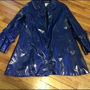 George Simonton Jackets & Blazers - Blue Vinyl Raincoat